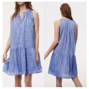 Women's Blue Petite Dot Chambray Drop Waist Dress